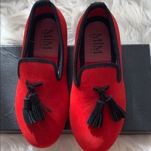 Boys red loafers